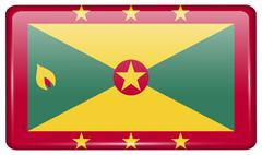 Flags of Grenada in the form of a magnet on refrigerator with reflections lig Stock Illustration