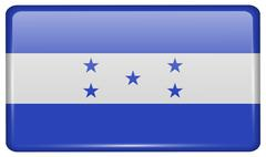 Flags of Honduras in the form of a magnet on refrigerator with reflections li Stock Illustration