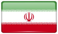 Flags of Iran in the form of a magnet on refrigerator with reflections light. Stock Illustration