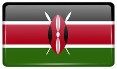 Flags of Kenya in the form of a magnet on refrigerator with reflections light Stock Illustration