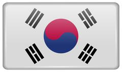 Flags of Korea South in the form of a magnet on refrigerator with reflections Stock Illustration