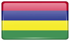 Flags of Mauritius in the form of a magnet on refrigerator with reflections l Stock Illustration