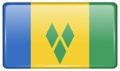 Flags of Saint Vincent and Grenadines in the form of a magnet on refrigerator Stock Illustration