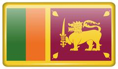 Flags of Sri Lanka in the form of a magnet on refrigerator with reflections l Stock Illustration