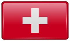 Flags of Switzerland in the form of a magnet on refrigerator with reflections Stock Illustration