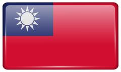 Flags of Taiwan in the form of a magnet on refrigerator with reflections ligh Stock Illustration