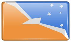 Flags of Tierra del Fuego Province in the form of a magnet on refrigerator wi Stock Illustration