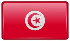 Flags of Tunisia in the form of a magnet on refrigerator with reflections lig Stock Illustration