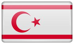 Flags of Turkish Northern Cyprus in the form of a magnet on refrigerator with Stock Illustration