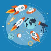 Collection of spaceship, planets and stars. Cartoon space icons. Hand drawn.  Stock Illustration