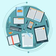 Set of books, e-book and stationery for your design. Vector Stock Illustration