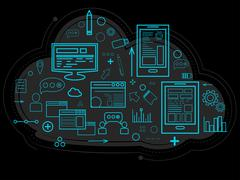 Cloud data is stored on the server, information about people, graphs, reports Stock Illustration