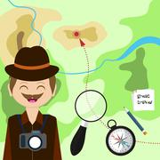 Map with tourist, compass, magnifying glass and map. Child Game. Help the pla Piirros