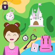 Map with a girl, backpack and other items. Map of passage to the castle. Chil Stock Illustration