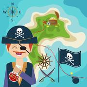 Map with a pirate and a map of treasure island. Child Game. Help the pirate f Piirros
