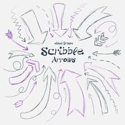 Collection of scribble arrows hand-drawn on a white background. Vector Stock Illustration