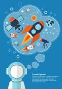 Astronaut who is thinking about rockets, stars and other objects with space f Stock Illustration