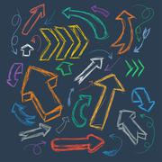 Collection of scribble arrows hand-drawn on a dark background. Vector Stock Illustration