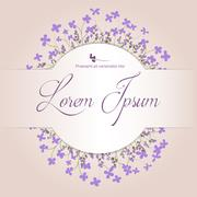 Beautiful floral arrangement with violet flowers on a beige background with s Stock Illustration