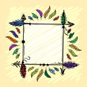 Decorative frame with arrows and feathers hand-drawn on a yellow background.  Stock Illustration