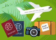 Holidays and travel to the islands with a passport facilities, backpack, phot Stock Illustration