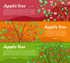 Three colorful banners with apple tree and place for your advertisement. Vect Stock Illustration