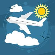 Sunny day. The plane takes passengers to the resort. With seagulls in the sky Stock Illustration