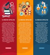 Set of banners chemistry and Physics design elements, symbols, icons. Vector Stock Illustration
