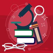Book with Science and Nature Study Symbols. Education Concept. Vector Stock Illustration