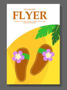 Flyer with Beach shoes on the sandy background. Slippers near palms. Vector Stock Illustration
