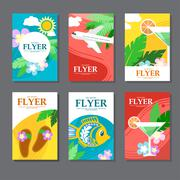 Collection of brightly colored rectangular card on travel and leisure. Flat s Stock Illustration