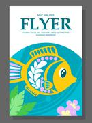 Summer flyer with a decorative fish on the ocean floor and algae near it. Vec Stock Illustration