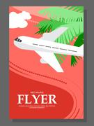 Flyer with Sunny day. The plane takes passengers to the resort. With seagulls Stock Illustration