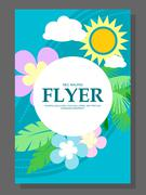 Spring sale concept hanging flowers, roll-up banner design, advertising. Vect Piirros