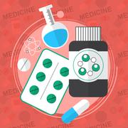 Medicine flat icons set. Pills box, tablets, pill, blister vitamins liquid me Stock Illustration