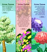 Colored banners with tree, flower and abstraction with space for your adverti Stock Illustration