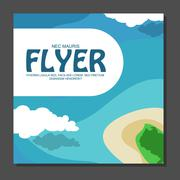 Flyer in flat style with a map of the island to travel and vacation on yacht  Stock Illustration