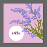 Violet flowers on a flyer. Can be used as greeting cards or wedding invitatio Stock Illustration