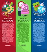 Bright banners back to school with schoolbag, globe, books and stationery wit Stock Illustration