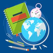 Globe with world map, close the textbook with pen and stopwatch. Geography le Stock Illustration