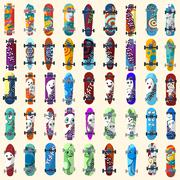 Big Set of skateboards and skateboarding and elements of street style. Painte Piirros