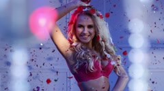 Attractive blond lady wearing sexy underwear Stock Footage