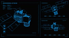 Looping, orthographic view of rotating wireframe model of ICESat spacecraft. Stock Footage