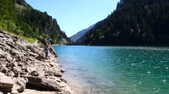 Perfectly clear emerald lake in Valchiavenna, Italy Stock Footage