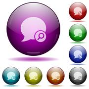 Find blog comment glass sphere buttons Stock Illustration