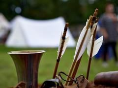 Old medieval bow and arrows Stock Photos