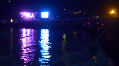 Light Show Lights Reflected in the Water Stock Footage
