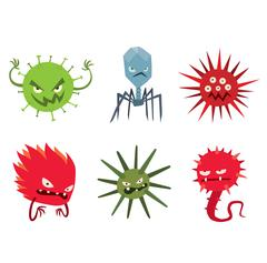 Cartoon viruses characters vector set Stock Illustration