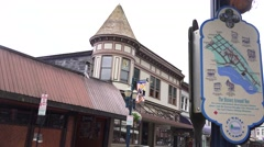 Downtown Juneau street scenes, directory to historic old town Stock Footage