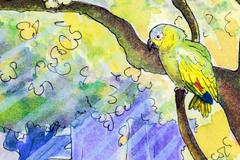 Original painting of an Amazon parrot Stock Illustration